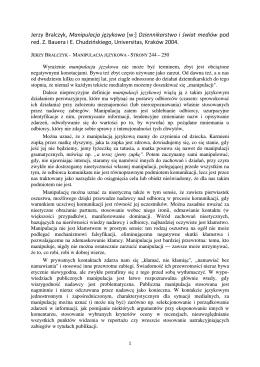 Jerzy Bralczyk, Manipulacja językowa [w:] Dziennikarstwo i świat