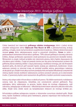 Inwestycja golfowa - Głęboczek Vine Resort & SPA