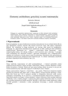 Elementy architektury gotyckiej oczami matematyka