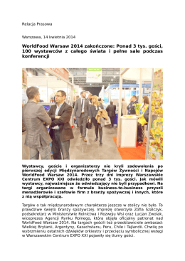 WorldFood Warsaw 2014 zakończone: Ponad 3 tys. gości