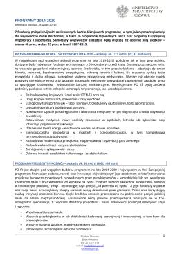 Informacja na temat programów operacyjnych 2014-2020