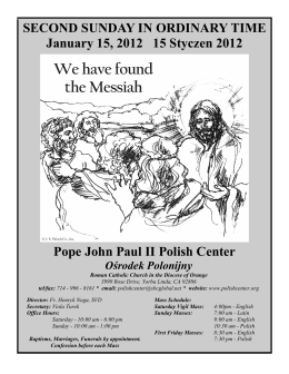 Pope John Paul II Polish Center SECOND SUNDAY IN ORDINARY