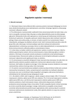 Regulamin zapisów i rezerwacji