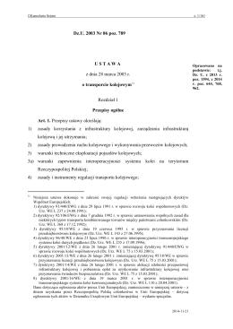 o transporcie kolejowym - Internetowy System Aktów Prawnych