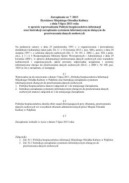 Zarządzenie nr 7/2013 - Miejski Ośrodek Kultury w Pelplinie