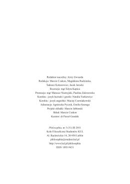 Philosophia, nr 3 (31) III 2011 Koło Filozoficzne