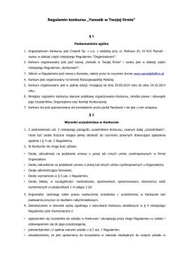 """Regulamin konkursu """"Yanosik w Twojej firmie"""""""