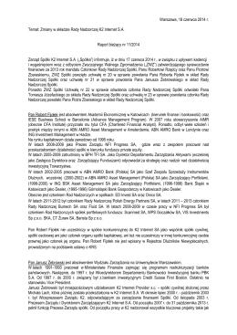 Zmiany w składzie Rady Nadzorczej K2 Internet S.A.