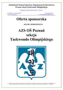 Oferta sponsorska - AZS Taekwondo Poznań