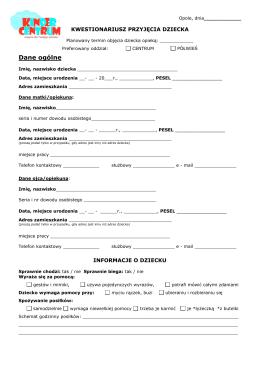 Formularz PDF - Akademia Kinder Centrum