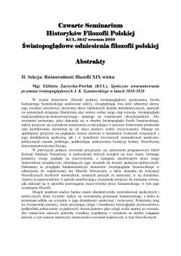 Abstrakty referatów - Rocznik Historii Filozofii Polskiej