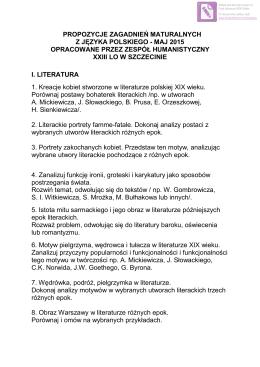 TEMATY NA EGZAMIN MATURALNY Z JĘZYKA POLSKIEGO 2015