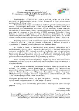 sprawozdanie z projektu studenckiego w ramach Europejskiej