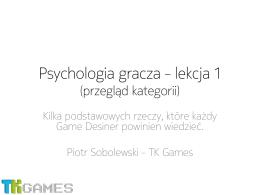Psychologia gracza – lekcja 1