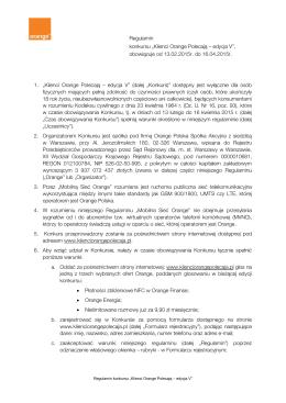 "Regulamin konkursu ""Klienci Orange Polecają – edycja V"