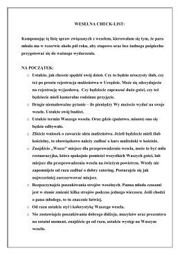 checklist na wesele