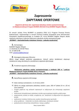 Zaproszenie ZAPYTANIE OFERTOWE