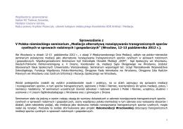 Sprawozdanie 16-17.10.2012 - Mediator | Prawnik Grażyna Górska