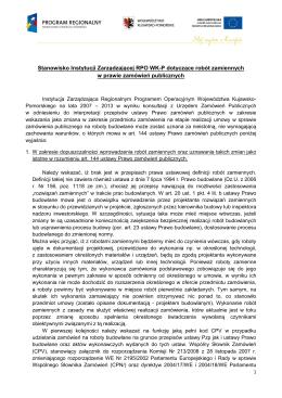 Stanowisko Instytucji Zarządzającej RPO WK-P
