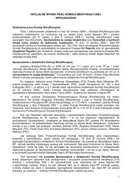 Oficjalne wyniki prac Komisji Weryfikacyjnej