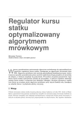 Regulator kursu statku optymalizowany algorytmem mrówkowym