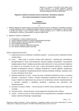 Regulamin udzielania pomocy materialnej o charakterze socjalnym