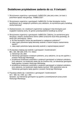 Dodatkowe przykładowe zadania do cz. II ćwiczeń: