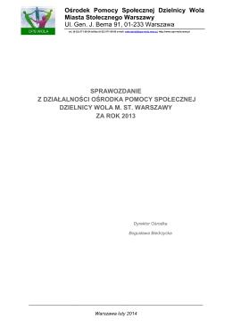 Sprawozdanie za 2013 rok - Ośrodek Pomocy Społecznej Dzielnicy