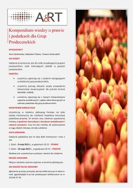 Kompendium wiedzy o prawie i podatkach dla Grup Producenckich