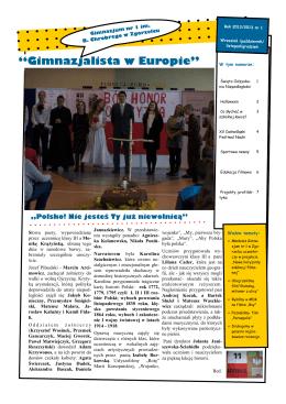 """""""Gimnazjalista w Europie"""" - Gimnazjum nr 1 w Zgorzelcu"""