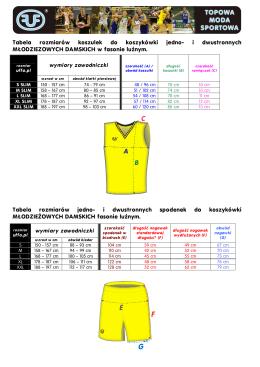 Tabela rozmiarów koszulek do koszykówki jedno- i