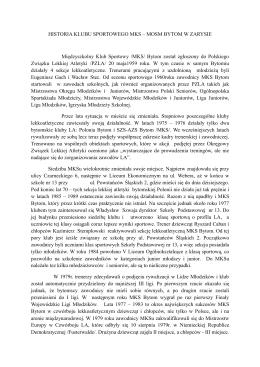 Historia Klubu Sportowego - Ośrodek Sportu i Rekreacji Bytom