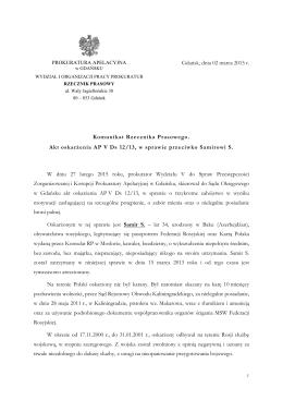 Akt oskarżenia AP V Ds 12/13, w sprawie przeciwko Samirowi S.