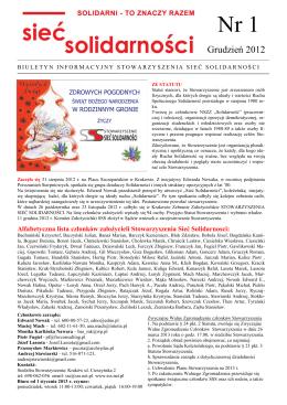 Biuletyn Informacyjny nr 1 (PDF) - Stowarzyszenie Sieć Solidarności
