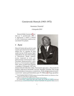 Greniewski Henryk (1903–1972) - Katedra Logiki, Informatyki i