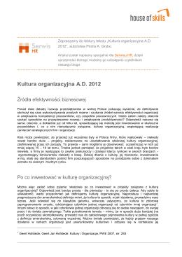 Kultura organizacyjna A.D. 2012