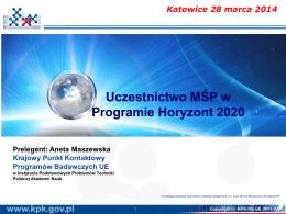 Horyzont 2020_Uczestnictwo MŚP