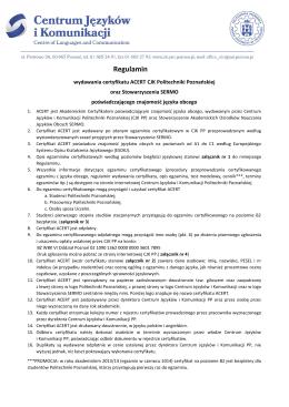Regulamin - Centrum Języków i Komunikacji