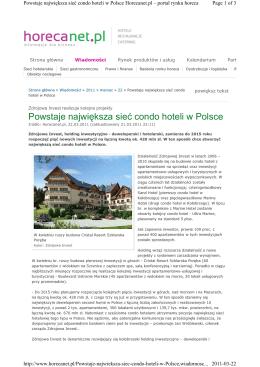 Powstaje największa sieć condo hoteli w Polsce