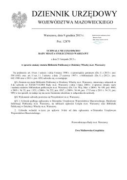Statut Biblioteki Publicznej w Dzielnicy Włochy m.st. Warszawy