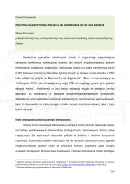 Polityka klimatyczna Polski a jej wizerunek w Unii Europejskiej i na