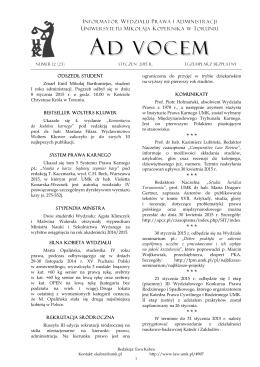 Ad Vocem 2015, nr 12 - Wydział Prawa i Administracji