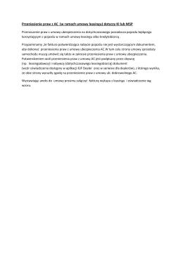 Przeniesienie praw z AC (w ramach umowy leasingu) dotyczy KI