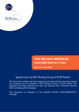 the recadv message eancom97/edifact d.96a