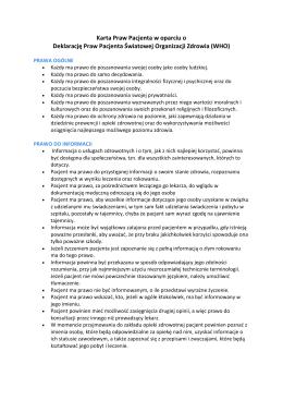 Karta Praw Pacjenta w oparciu o Deklarację Praw