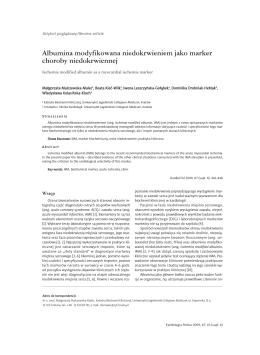 Albumina modyfikowana niedokrwieniem jako marker choroby