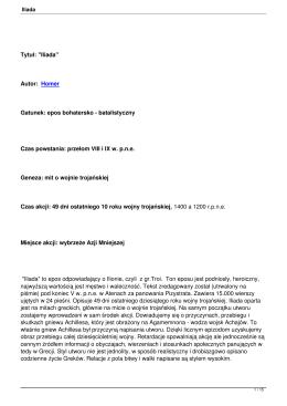 """Tytuł: """"Iliada"""" Autor: Homer Gatunek: epos - Epoki"""