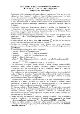 "Regulamin Międzynarodowego Konkursu ""Kangur"