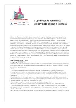 Sesja Konserwatorska 2013 - Państwowe Muzeum Etnograficzne w