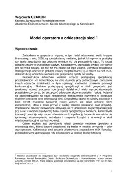 Model operatora a orkiestracja sieci